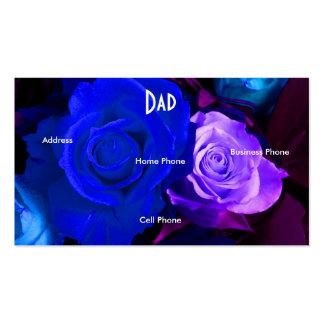 Carte pourpre bleue de profil de roses de papa carte de visite standard