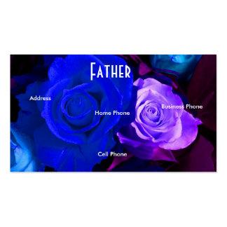 Carte pourpre bleue de profil de roses de père carte de visite standard