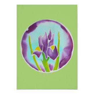 Carte pourpre d'art de batik de fleur d'iris