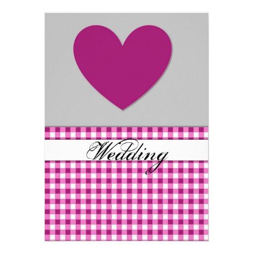 Carte pourpre de faire-part de mariage de coeur de