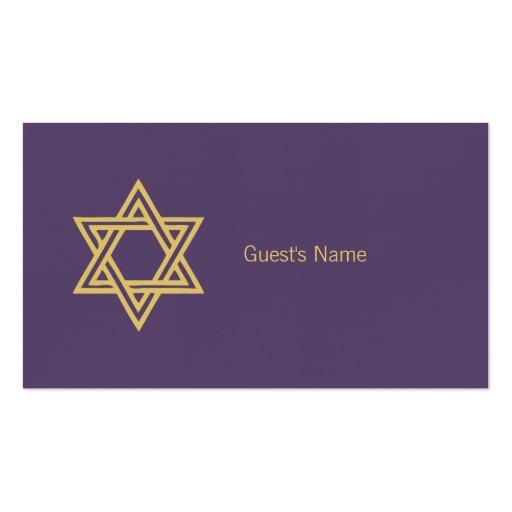 Carte pourpre de place d'étoile de David de motif  Modèle De Carte De Visite