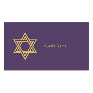 Carte pourpre de place d'étoile de David de motif Carte De Visite Standard