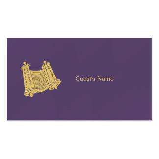 Carte pourpre d'endroit de Torah de motif de Hanou Cartes De Visite Personnelles