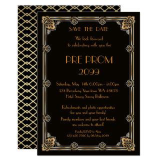 Carte Pré PromJunior, grand Gatsby, or, noir