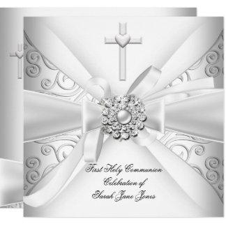 Carte Premier argent de blanc de damassé de sainte