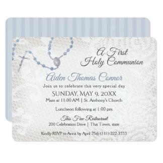 Carte Premier bleu de chapelet et de communion de