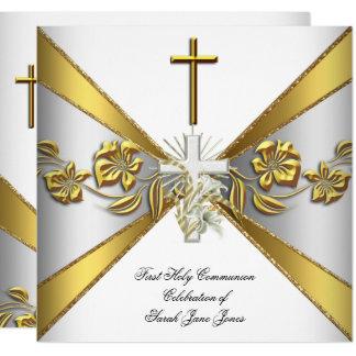 Carte Premier or 2 floraux blancs de sainte communion de