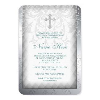 Carte Première communion de croix blanche élégante de