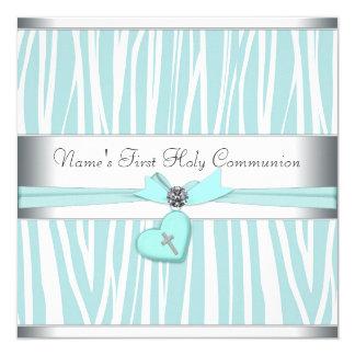 Carte Première communion de croix bleue turquoise de