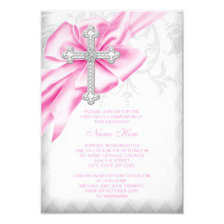 Carte Première communion de croix rose de damassé