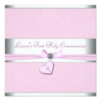 Carte Première communion de remous de coeur de croix