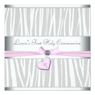 Carte Première communion de zèbre de coeur de croix rose