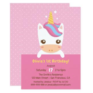 Carte Première fête d'anniversaire de petite licorne