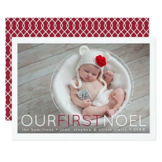 Carte Première photo de Noël du premier bébé de Noel |