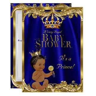 Carte Prince baby shower d'or de marine de bleu royal