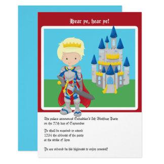 Carte Prince blond et fête d'anniversaire de château