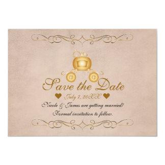 Carte Princesse Cendrillon Carriage Save d'or la date
