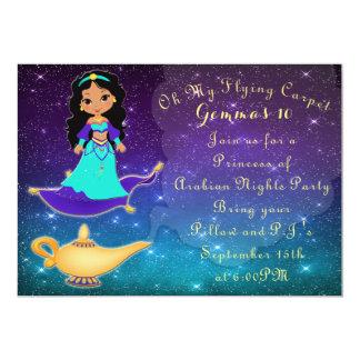 Carte Princesse d'invitation de soirée pyjamas de mille