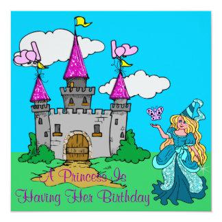 Carte Princesse et fille scintillante d'anniversaire de