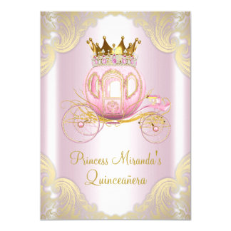 Carte Princesse rose Quinceanera d'or de Cendrillon