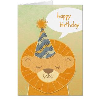 Carte principale de joyeux anniversaire de lion