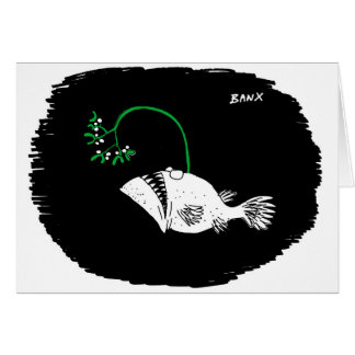 Carte profonde de Noël de gui de poisson de mer