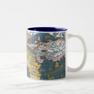 Carte Ptolemaic antique du monde ; Claudius Mug Bicolore