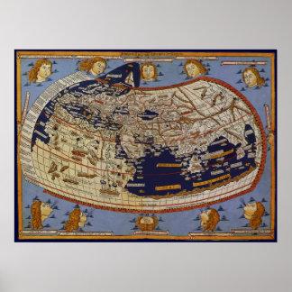 Carte Ptolemaic antique du monde, Johannes Poster