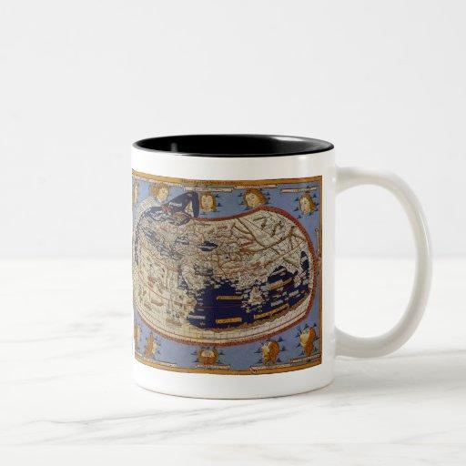 Carte Ptolemaic antique vintage du monde, 1482 Mugs