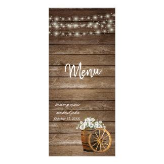 Carte Publicitaire Baril en bois rustique avec les fleurs blanches -