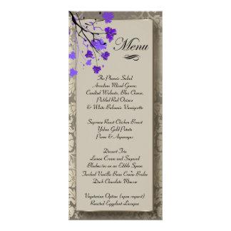 Carte Publicitaire Belle damassé argentée florale et antique pourpre