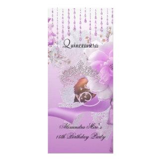 Carte Publicitaire Blanc floral rose lilas de Quinceanera 15ème