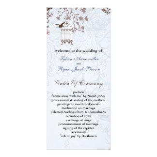 Carte Publicitaire cage à oiseaux bleue florale, inséparables