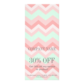 Carte Publicitaire Chevron géométrique Girly de rose et de menthe de