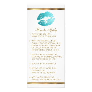 Carte Publicitaire Instructions turquoises de rouge à lèvres de