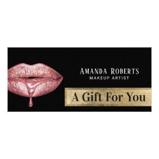 Carte Publicitaire Lèvres roses modernes d'égouttement d'or de
