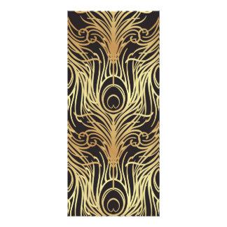 Carte Publicitaire l'or, noir, motif de paon, nouveau d'art, cru,
