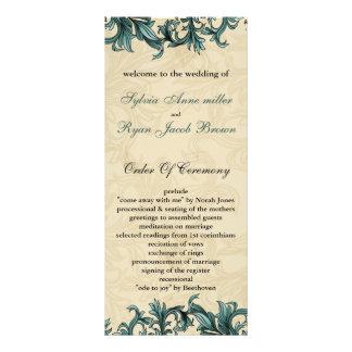 Carte Publicitaire Mariage vintage en ivoire turquoise de Flourish
