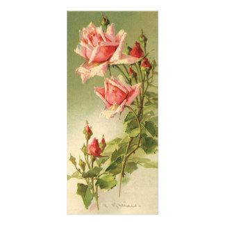 Carte Publicitaire Roses roses vintages de jardin pour la