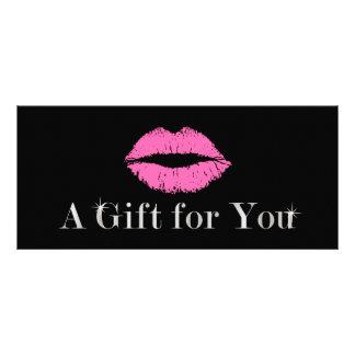 Carte Publicitaire Salon de beauté rose de maquillage de lèvres des