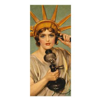 Carte Publicitaire Statue de la liberté vintage, annonce patriotique