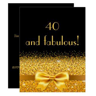 Carte quarantième fête d'anniversaire sur le noir avec