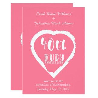 Carte quarantième rubis traditionnel d'anniversaire de