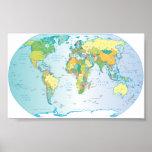 Carte rayée du monde poster
