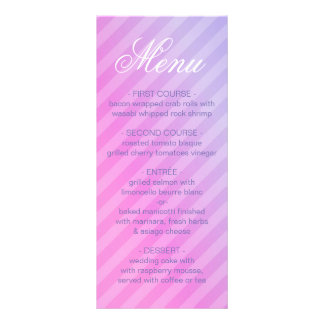 Carte rayée lilas élégante de menu de rose en