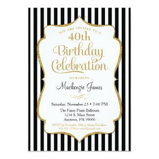 Carte Rayure élégante d'or de noir d'invitation