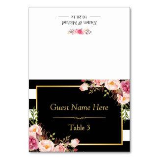 Carte Rayures blanches noires florales roses épousant