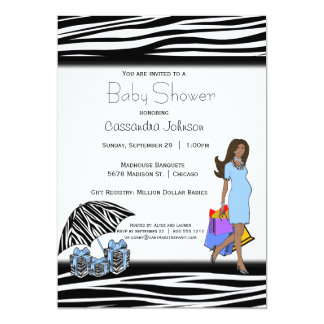Carte Rayures de zèbre et maman bleue d'Afro-américain
