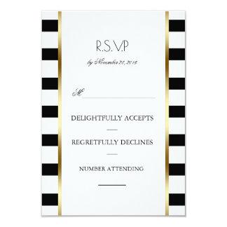 Carte Rayures noires de blanc et d'or épousant Rsvp