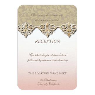 Carte Réception chic élégante de mariage damassé